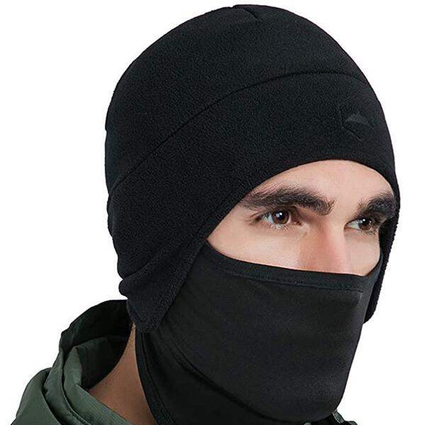 Fleece Helmet Beanie With Pull-down Mask