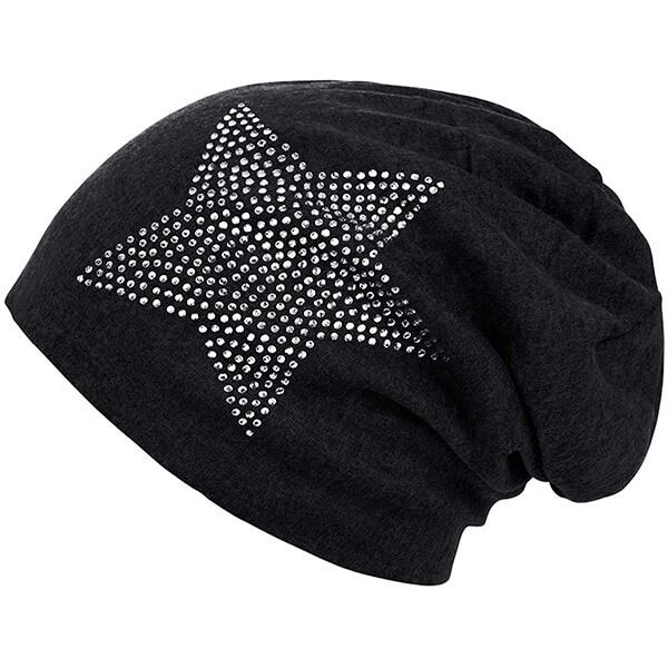 Beanie Hat with Star-Shaped Rhinestone