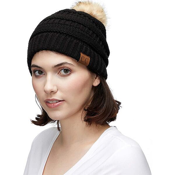 Cable Knit Faux Fur CC Beanie