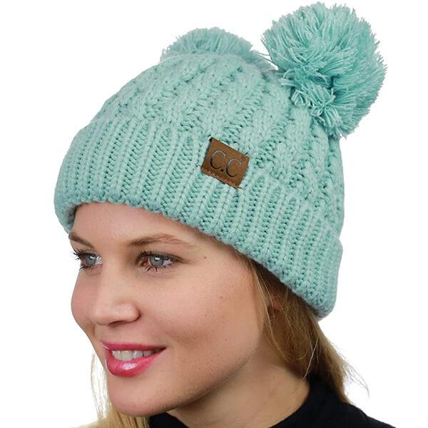 C.C Two Ear Pom Pom Beanie Hat