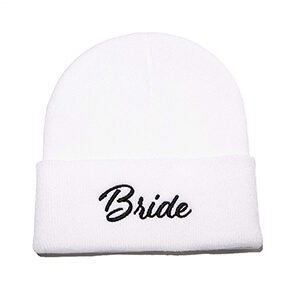 Bride Beanie Bachelorette Party Wedding Gift Embroidered Winter Hat Women Warm Knit Cuff Cap