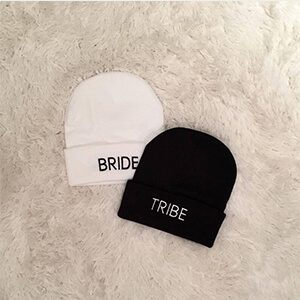 SETS OF BRIDE / TRIBE personalized toques/ beanies