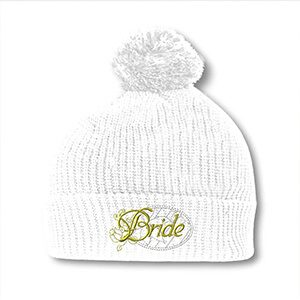 Speedy Pros Bride Embroidery Embroidered Pom Pom Beanie Skully Hat Cap