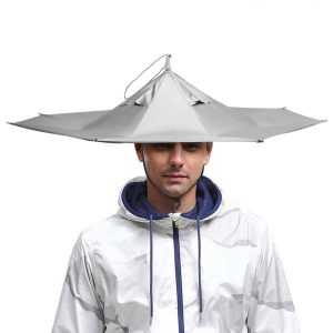Silver color flat brim umbrella hat