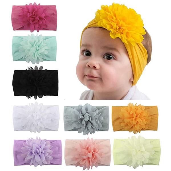 Chiffon Flowers Baby Head Wrap for Baby Girls