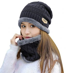 Winter Beanie Hat with Scarf