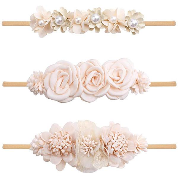 3 Pc Baby Girl Flower Headbands Set