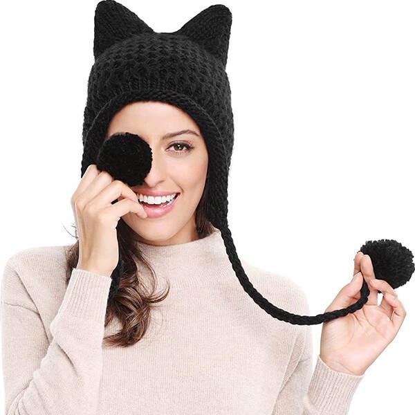 Cute Cat Ears Ear Flap Hat for Women and Kids