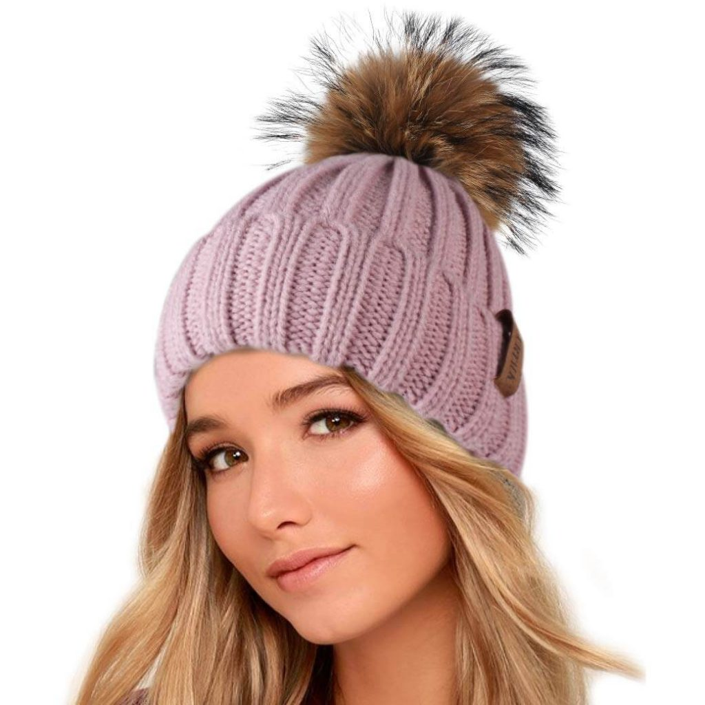 Winter Knit Hat with Raccoon Fur Pompom