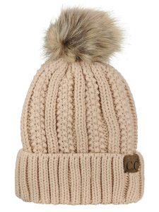 Thick Faux Fuzzy Fur Pompom Fleece Lined Beanie