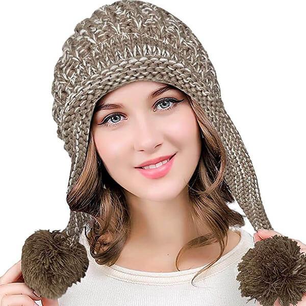Earflap Winter Beanie Hat for Women