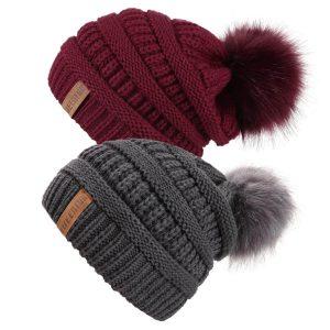 Women Knit Slouchy Beanie with Faux Fur Pompom
