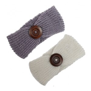 Crotchet Pattern Knitted Headband with Buttons