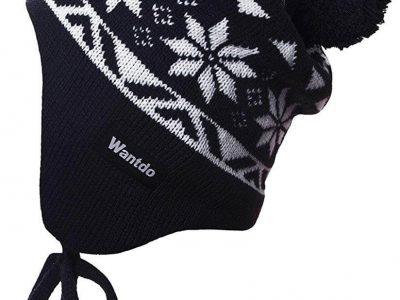 Crotchet Snowflake Pattern Pompom Beanie