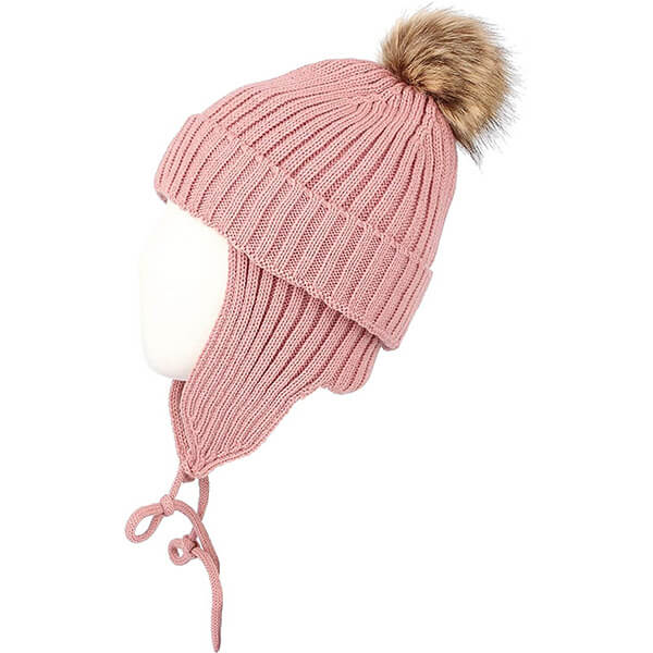 Ribbed Knit Beanie Velour Lining & Earflaps
