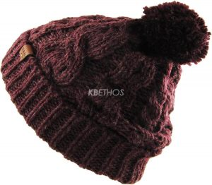 Unisex Wool Blend Pom Pom Cable Knit Beanie Winter Ski Hat