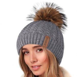 Winter Beanie with Fur Bobble Pompom Hat