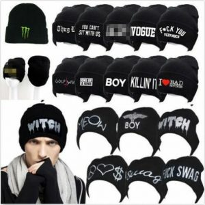 Hip-hop Fashion Black Beanie Hat