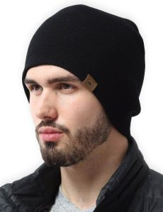 Tough Knit Unisex Black Beanie