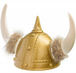 Plastic Golden Color Viking Helmet