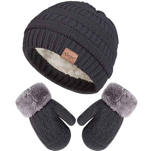 Winter Mittens Gloves and Beanie Hat Set