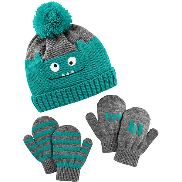 Baby and Toddler Pom Hat and Mitten Set
