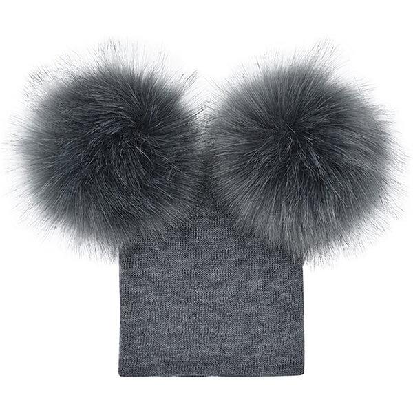 Fur Ball Knit Pompom Baby Beanie