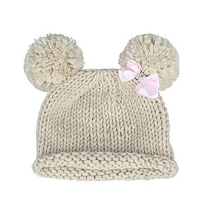 Bow with Pompom Baby Beanie