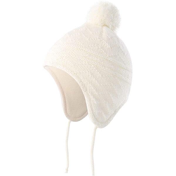 Fleece Lined Knit Pompom Baby Beanie