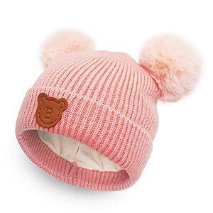 Faux Fur Pompom Baby Beanie