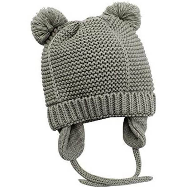 Earflap Attached Pompom Baby Beanie