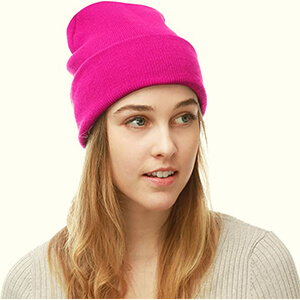 An Attractive Pink Beanie Plain Ski Cap