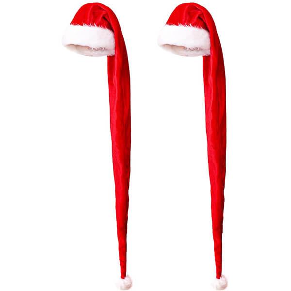 2 Pack Extra Long Santa Hats
