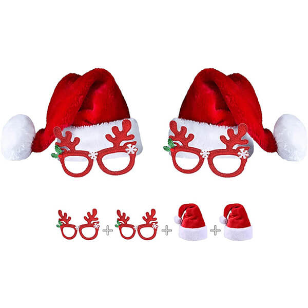 4PC Christmas Hats and Glasses for Kids