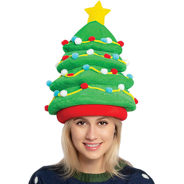 Plush Christmas Tree Hat for Kids and Adults