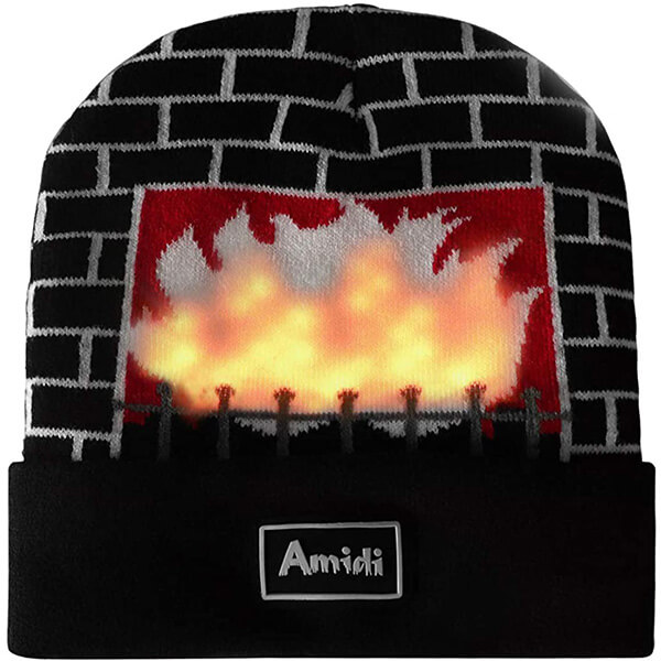Fireplace LED Christmas Beanie Hat
