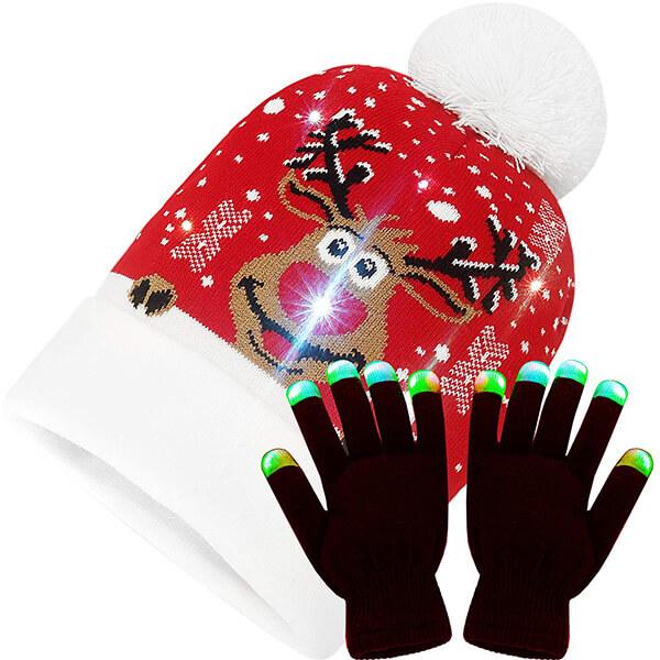 LED Light Up Christmas Hat and Gloves Set