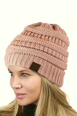 Stretch and Warm Fuzzy Lined Pink Beanie