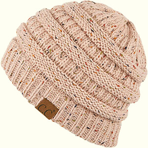 Pink Ribbed Confetti Knit Beanie