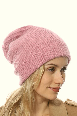 Pink Slouchy Beanie: Wool and Acrylic