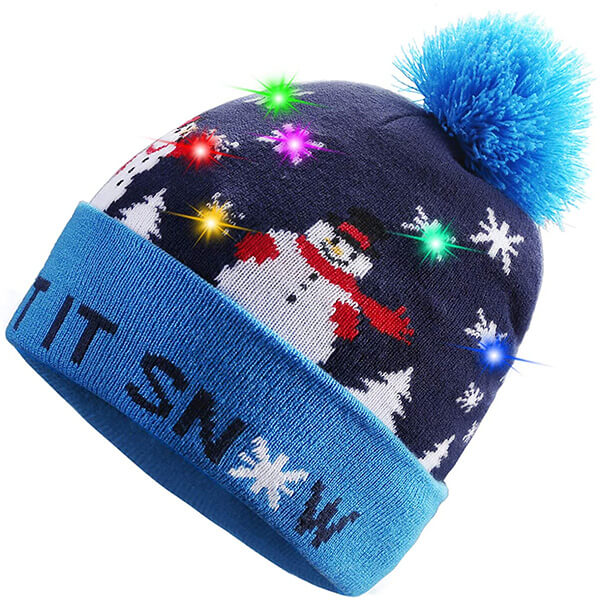 LED Light Up Beanie Knit With Snow Patterns