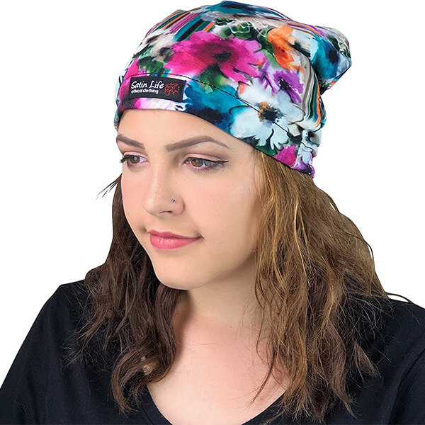 Adjustable Drawstring Patterned Satin Lined Beanie