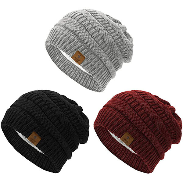 Thick Solid Fleece Knit Beanie