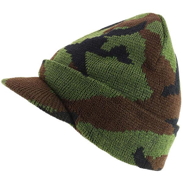 Armycrew Camouflage Beanie Hat with Brim