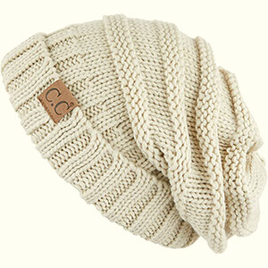 OversizedSlouchCable Knitted Beanie