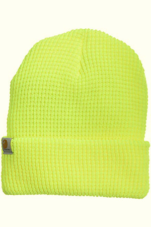 Wood lime beanie hat made with acrylic for men