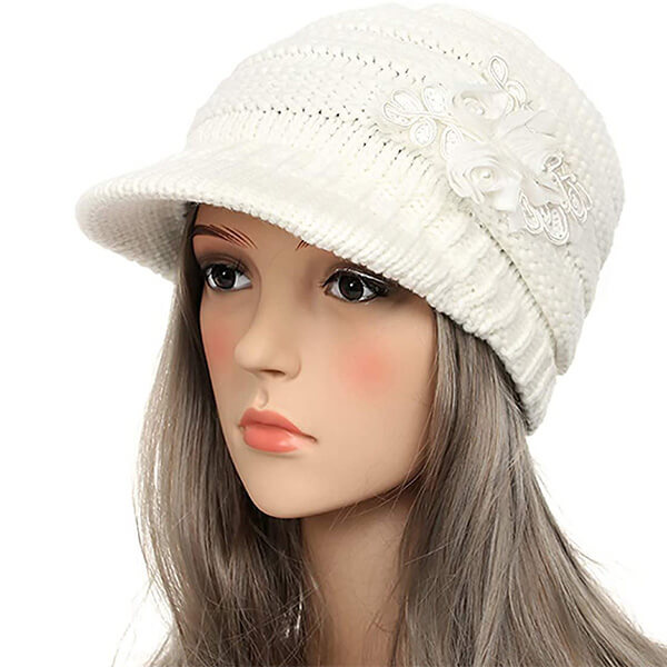 Brimmed Beanie with Sequined Flower