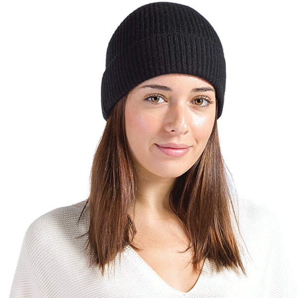 Cable Knit Cuffed Cashmere Beanie