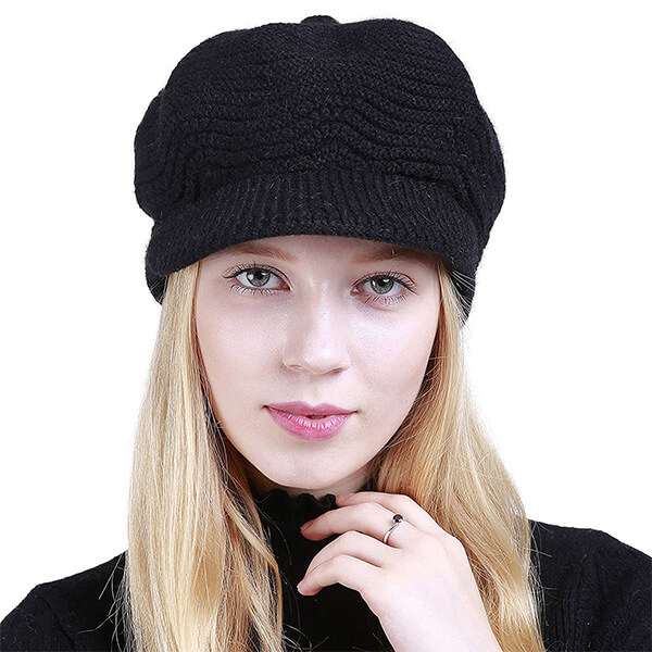 Slouchy Cable Knit Beanie with Visor and Brim