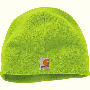 Acrylic green and orange beanie hat for males